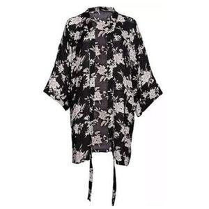 Spiritual Gangster Maya Kimono Black Floral Robe